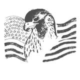 American flag and eagle, sketch, vector illustration Stock Image