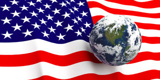 American Flag & the Earth. American flag background, Earth in foreground showing country of The United States of America through cloud cover Royalty Free Stock Image