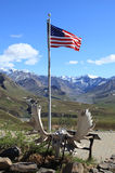 The American Flag at Eielson Visitor Center in Denali National Park Royalty Free Stock Image