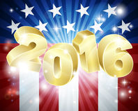 2016 American Flag  Election Concept. With the flag design in the background and 2016 year number in 3D Stock Images