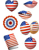 American Flag Elements. Vector illustration of some patriotic elements, american flag colour: lips, christmas bowl, easter egg, book, bunting, heart Royalty Free Stock Photography