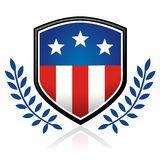 American flag emblem. American flag shield inlay with blue vines Stock Image