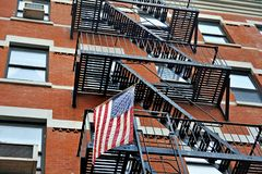 American flag and emercency stairs Stock Photo