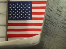 American Flag Space Shuttle Endeavor. The Space Shuttle Endeavor with the American Flag in its rear view. Patriotic American red-white-blue Royalty Free Stock Photography