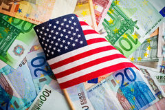 American flag and euro banknotes Royalty Free Stock Photography