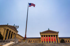 American flag and the exterior of the Art Museum in Philadelphia Stock Photo