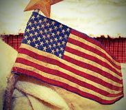 American flag fabric wtih vintage old effect royalty free stock photo