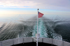 American flag on ferry boat Royalty Free Stock Photo