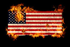 American flag in fire Stock Image