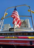 American Flag on a Fire Truck, Fire Engine, USA Royalty Free Stock Image