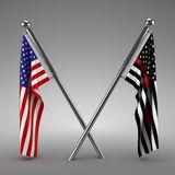 American flag and Firefighter flag. 3d render Stock Photos
