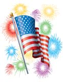 American Flag and Fireworks Royalty Free Stock Photography