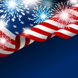 American flag with fireworks. Vector illustration Stock Photography