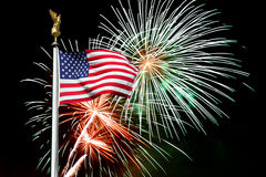 American flag with fireworks in background Royalty Free Stock Image
