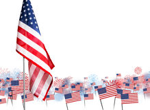 American flag with fireworks background design for USA 4 july. Independence day or other celebration Stock Photos