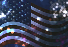 American flag and fireworks. American flag and blurred fireworks Royalty Free Stock Image