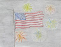 American flag and fireworks Stock Photo