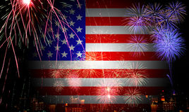 The American flag and fireworks in the independence day. Celebration Stock Photography