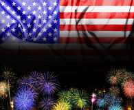 The American flag and fireworks in the independence day Stock Photography