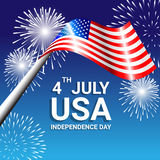 American Flag with fireworks for Independence Day of USA. Celebration Royalty Free Stock Image