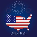 American flag with fireworks on Independence Day. Vector color illustration. 4th of july text Stock Photos