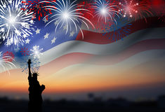 American flag with fireworks at twilight background Stock Photography