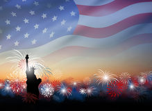 American flag with fireworks at twilight background design Stock Photos