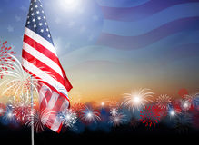 American flag with fireworks at twilight background design for 4. July independence day or other celebration Stock Image