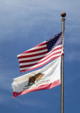 American flag and flag of California Royalty Free Stock Images