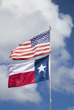 American flag and flag of Texas Stock Photo