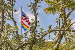 The American flag flies high with the gay pride flag. Pride in tropical paradise celebrates the American LGBT community. Rainbow pride flag hangs high with the royalty free stock photography