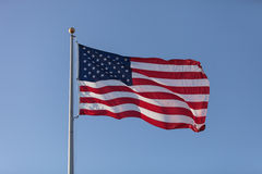 American flag flies Royalty Free Stock Photo
