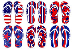 American Flag Flip Flops. Set of fun Flip flops with American flag related designs Stock Photos
