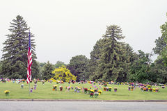 American flag and Flowers on Graveside Stock Images