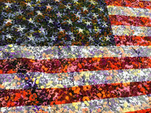 American flag and flowers Stock Photography