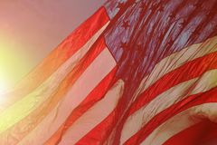 American Flag Fluttering in the Air stock photos