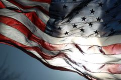 American Flag Fluttering in the Air stock photography