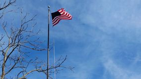An American flag flutters in the spring breeze. Blue sky background. An American flag flutters in the spring breeze. Blue sky background with room for copy stock video