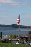 American flag flying at Bar Harbor, Maine Royalty Free Stock Images
