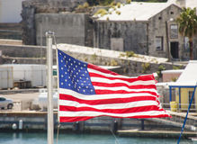 American Flag Flying in Bermuda Royalty Free Stock Image