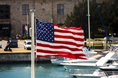 American Flag Flying in Bermuda Royalty Free Stock Images