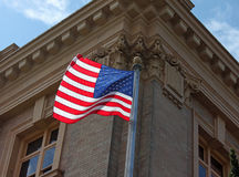 American Flag Flying at the Courthouse Stock Photo