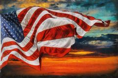 American flag flying, over beautiful Sunset sunrise with clouds, Stock Photography
