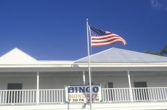 American Flag Flying in front of Bingo Hall, Mississippi Stock Photo
