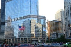 American flag flying in front of the Trump Tower in Chicago. Royalty Free Stock Image