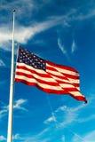 American Flag Flying Half-Staff. USA Flag Flying at half-staff stock images