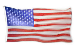 American Flag. An American flag flying with movement and blur isolated on a white background Stock Photography