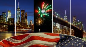 American flag flying the a Skyline view new york city manhattan downtown skyline at night. American flag flying the a Skyline Panoramic view new york city stock photo