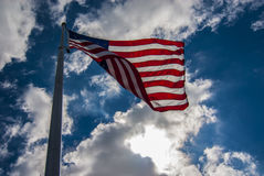 American flag flying in wind Royalty Free Stock Image