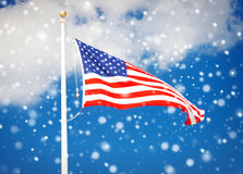 American flag flying in the wind Royalty Free Stock Photo